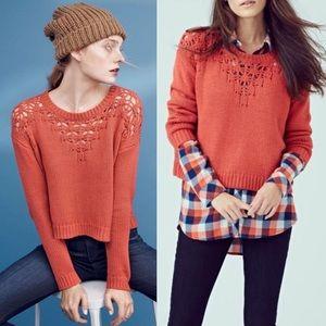 Hinge Pointelle Yoke Burnt Orange Sweater